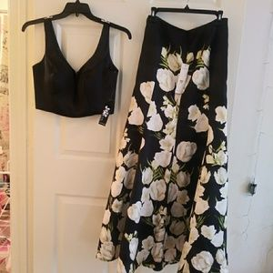 2-Pc Floral Printed Homecoming Dress Black & Ivory
